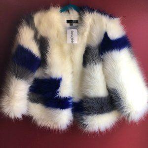 Boujee Blue Blush Faux Fur Coat